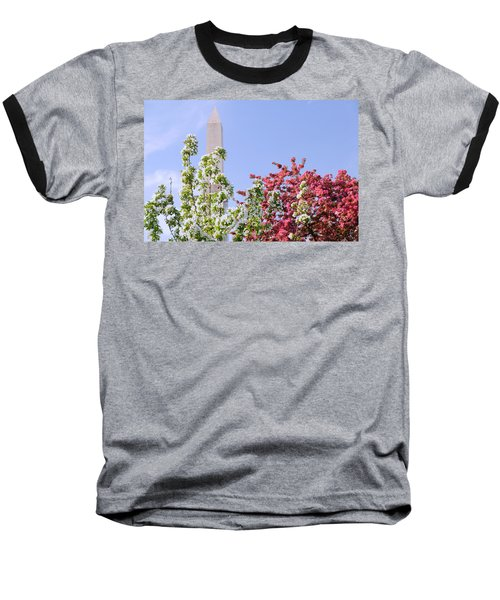 Cherry Trees And Washington Monument Four Baseball T-Shirt