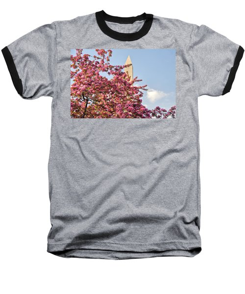 Cherry Trees And Washington Monument One Baseball T-Shirt