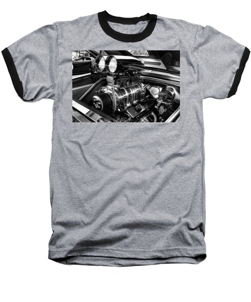 Chevy Supercharger Motor Black And White Baseball T-Shirt