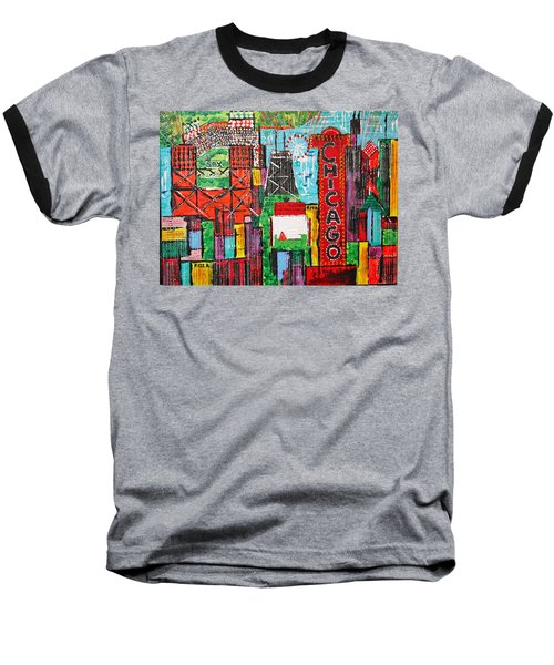 Chicago - City Of Fun - Sold Baseball T-Shirt by George Riney