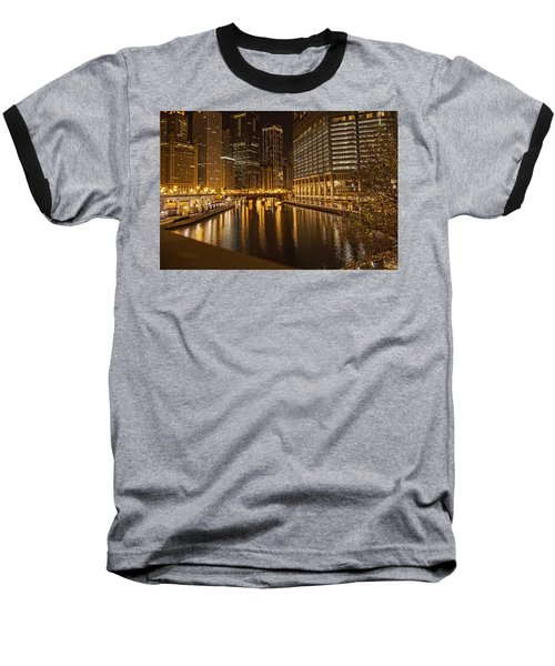 Chicago At Night Baseball T-Shirt by Daniel Sheldon