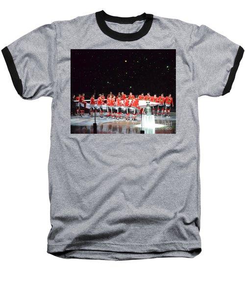 Chicago Blackhawks And The Banner Baseball T-Shirt by Melissa Goodrich