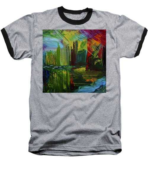 Chicago City Scape Baseball T-Shirt by Dick Bourgault