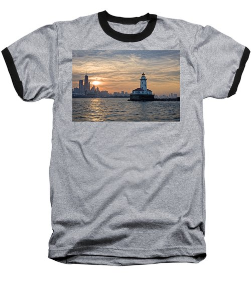 Chicago Lighthouse And Skyline Baseball T-Shirt by John Hansen