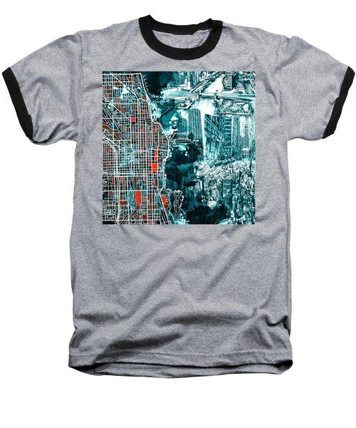 Chicago Map Drawing Collage Baseball T-Shirt by Bekim Art