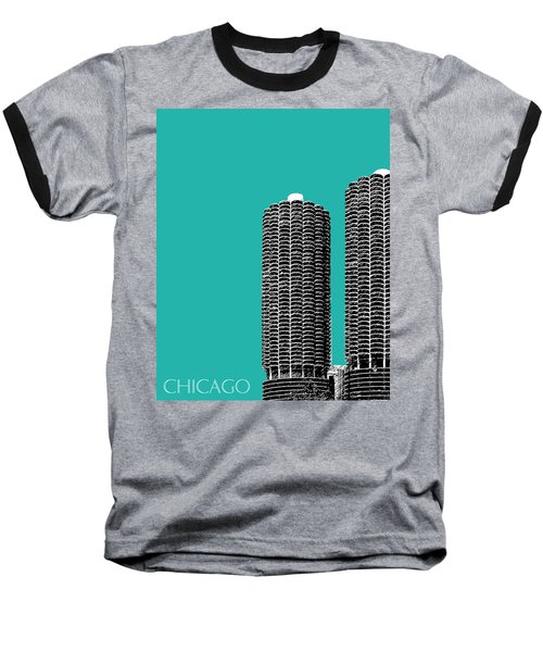 Chicago Skyline Marina Towers - Teal Baseball T-Shirt