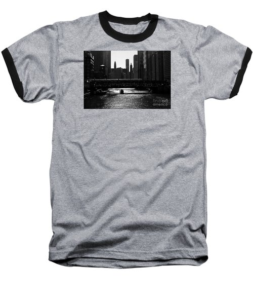 Chicago Morning Commute - Monochrome Baseball T-Shirt