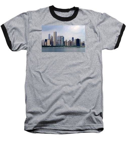 Chicago Panorama Baseball T-Shirt by Milena Ilieva