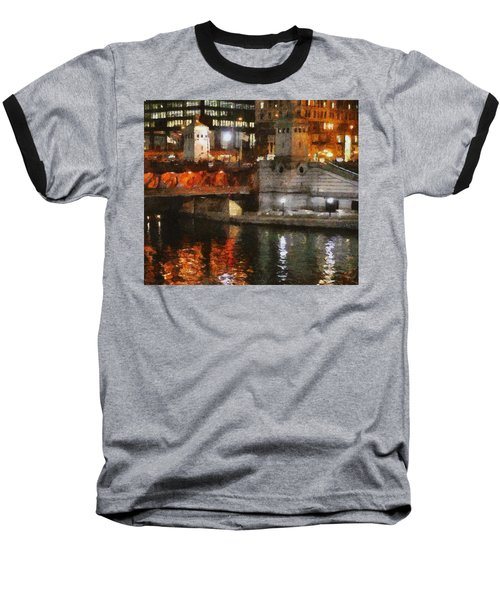 Chicago River At Michigan Avenue Baseball T-Shirt by Jeff Kolker