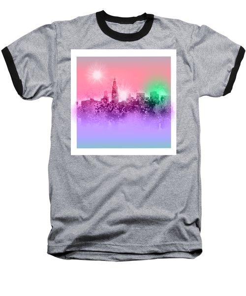 Chicago Skyline Abstract 3 Baseball T-Shirt by Bekim Art