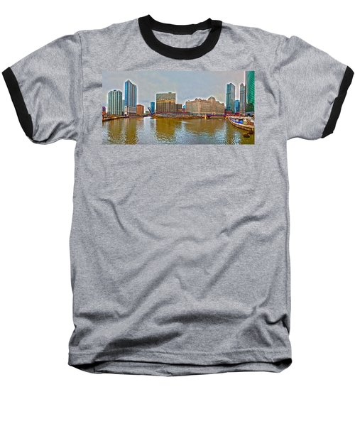 Baseball T-Shirt featuring the photograph Chicago Skyline And Streets by Alex Grichenko