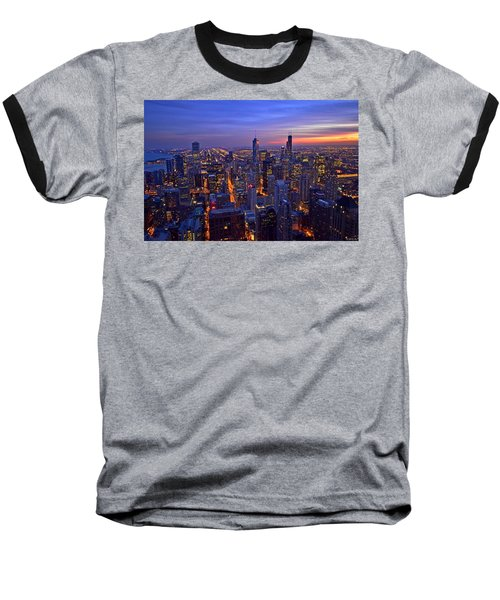 Chicago Skyline At Dusk From John Hancock Signature Lounge Baseball T-Shirt by Jeff at JSJ Photography