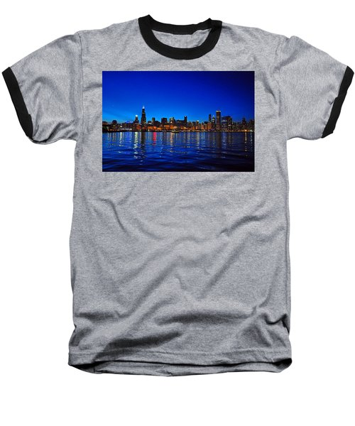 Chicago Skyline At Dusk Baseball T-Shirt