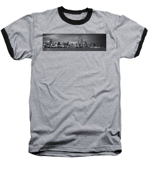 Chicago Skyline At Night Black And White Panoramic Baseball T-Shirt