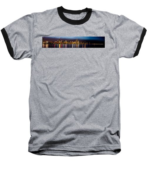 Chicago Skyline At Night Panoramic Baseball T-Shirt