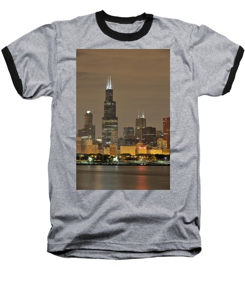 Chicago Skyline At Night Baseball T-Shirt