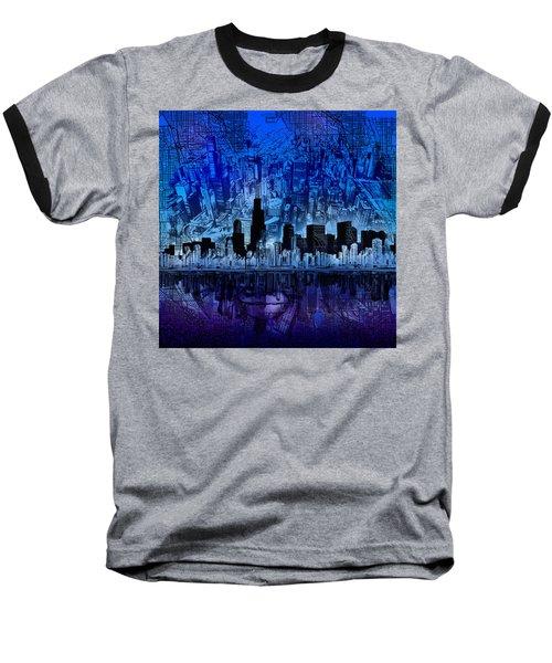 Chicago Skyline Blue Version Baseball T-Shirt