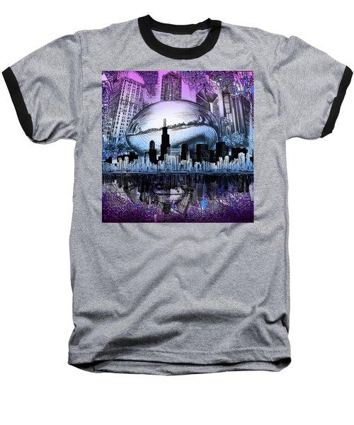 Chicago Skyline Drawing Collage 2 Baseball T-Shirt