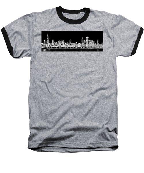 Chicago Skyline Fractal Black And White Baseball T-Shirt
