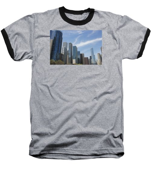 Chicago Skyscrapers Baseball T-Shirt by The Art of Alice Terrill