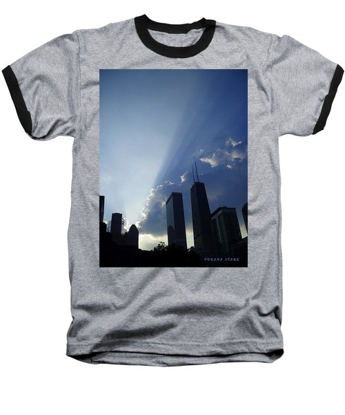 Chicago Sunset Baseball T-Shirt by Verana Stark