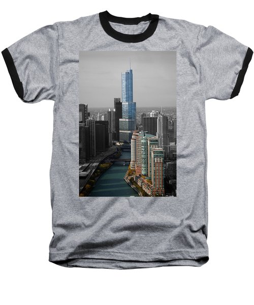 Chicago Trump Tower Blue Selective Coloring Baseball T-Shirt by Thomas Woolworth