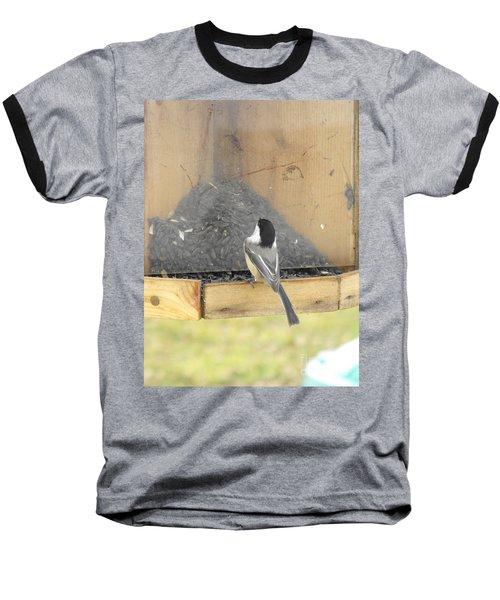 Chickadee Eating Lunch Baseball T-Shirt