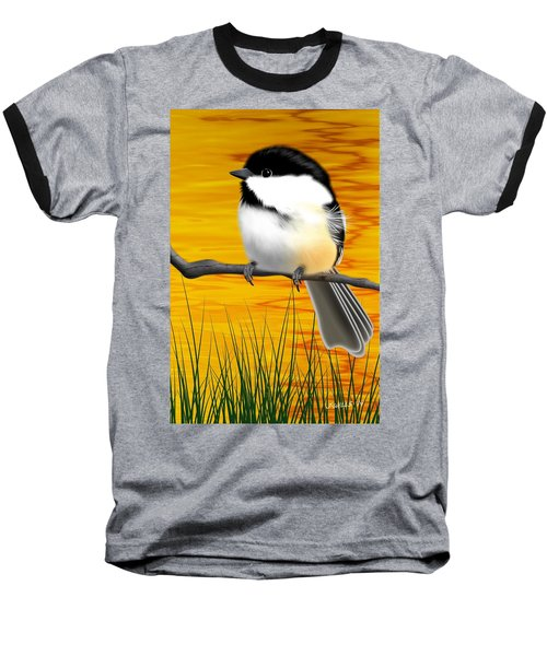 Chickadee On A Branch Baseball T-Shirt