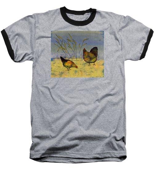 Chickens On Silk Baseball T-Shirt by Carolyn Doe