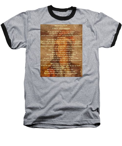Chief Tecumseh Poem Baseball T-Shirt by Dan Sproul