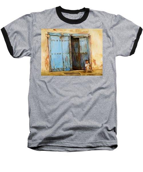 Child Sitting In Old Zanzibar Doorway Baseball T-Shirt