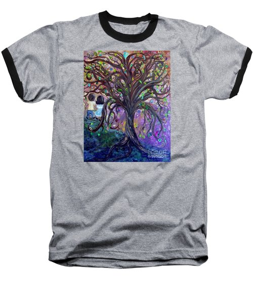 Baseball T-Shirt featuring the painting Children Under The Fantasy Tree With Jackie Joyner-kersee by Eloise Schneider