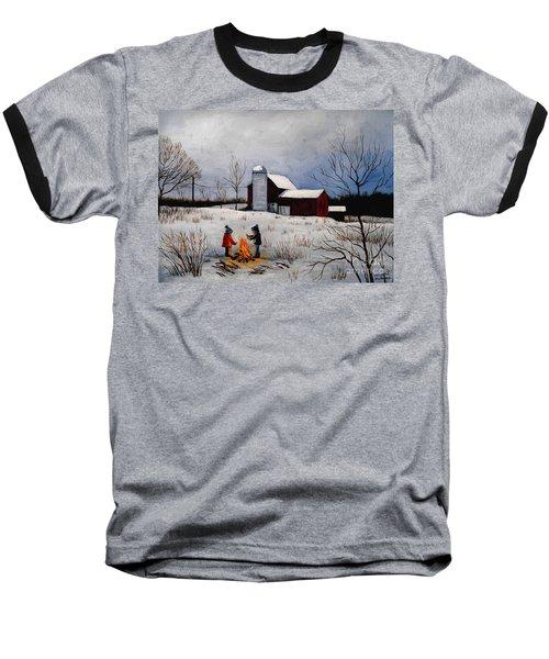 Children Warming Up By The Fire Baseball T-Shirt
