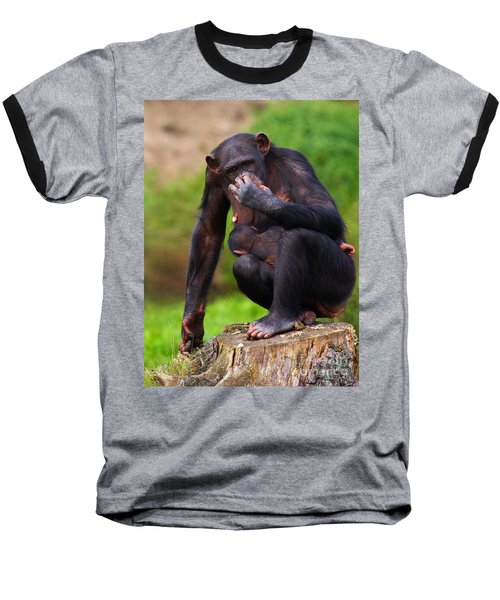 Chimp With A Baby On Her Belly  Baseball T-Shirt