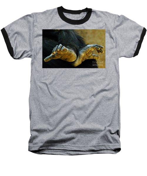 Chimpanzee Feet Baseball T-Shirt by Clare Bevan