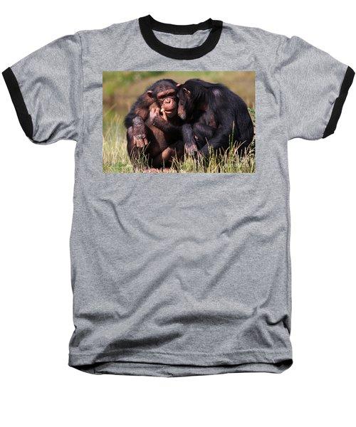 Baseball T-Shirt featuring the photograph Chimpanzees Eating A Carrot by Nick  Biemans