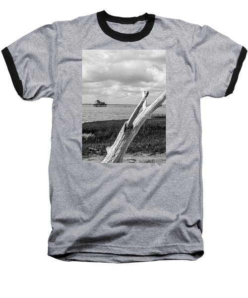 Chincoteague Oystershack Bw Vertical Baseball T-Shirt by Photographic Arts And Design Studio
