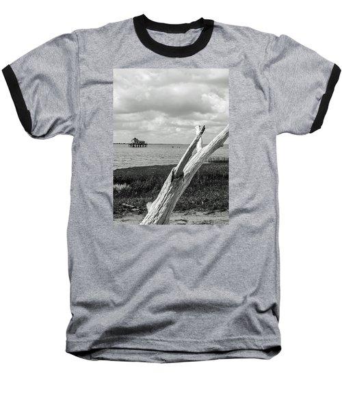 Chincoteague Oystershack Bw Vertical Baseball T-Shirt