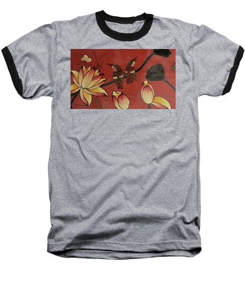 Chinese Red Lacquer Chest Detail Baseball T-Shirt