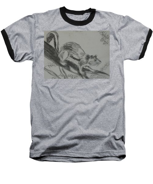 Chipmunk On The Prowl Baseball T-Shirt by Thomasina Durkay