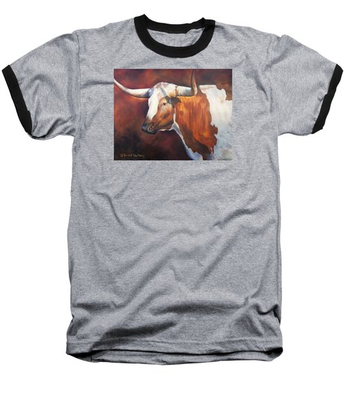 Baseball T-Shirt featuring the painting Chisholm Longhorn by Karen Kennedy Chatham