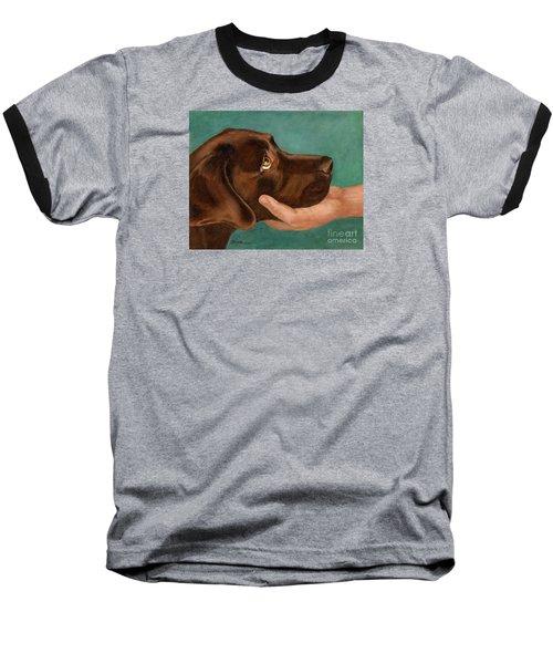 Chocolate Lab Head In Hand Baseball T-Shirt