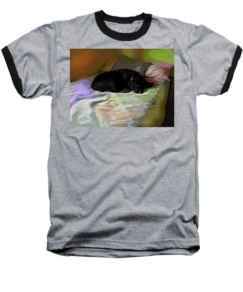 Baseball T-Shirt featuring the mixed media Chopper Dreams Of Beds by Terence Morrissey