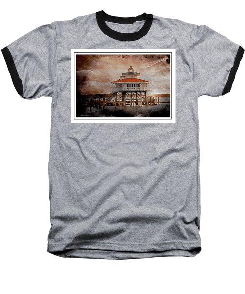 Choptank River Lighthouse Baseball T-Shirt by Suzanne Stout