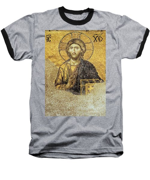 Christ Pantocrator-detail Of Deesis Mosaic Hagia Sophia-judgement Day Baseball T-Shirt