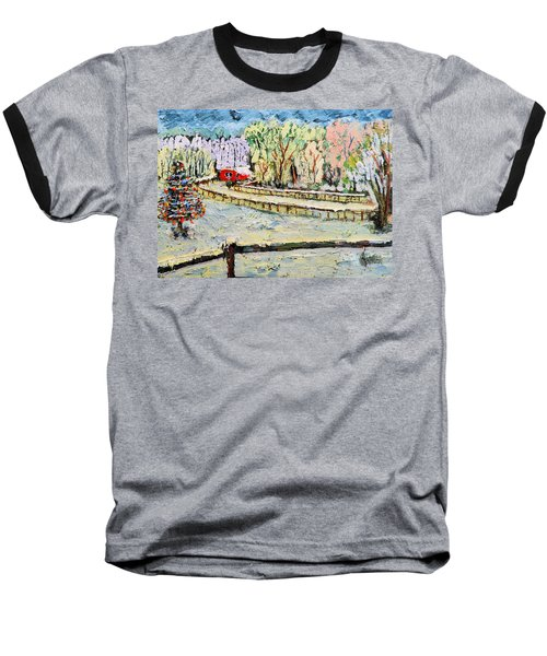 Baseball T-Shirt featuring the painting Christmas At Cissy's Farm by Michael Daniels
