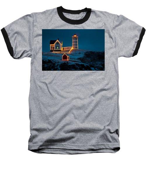 Christmas At Nubble Light Baseball T-Shirt