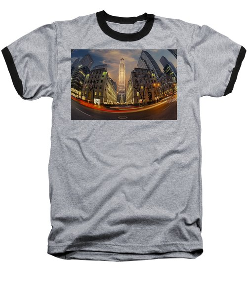 Christmas At Rockefeller Center Baseball T-Shirt by Susan Candelario