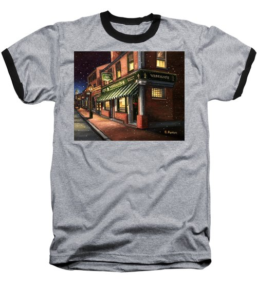 Christmas At Virgilios Baseball T-Shirt by Eileen Patten Oliver