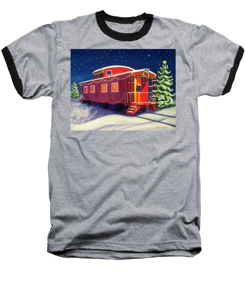 Christmas Caboose Baseball T-Shirt